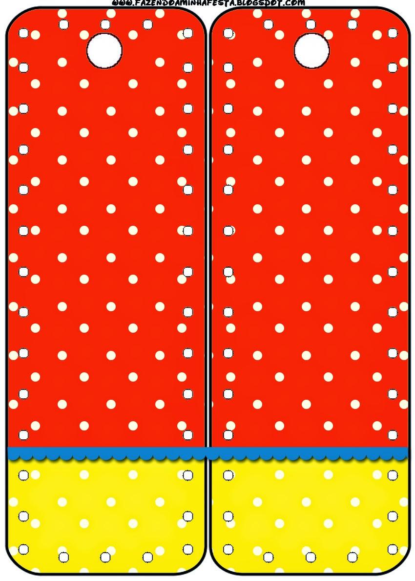 Marcapaginas para Imprimir Gratis de Rojo, Amarillo y Lunares Blancos.