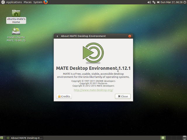 Ubuntu MATE showing MATE version