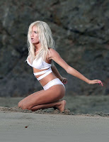 Pia Mia Perez in a white bikini for new music video shoot in LA