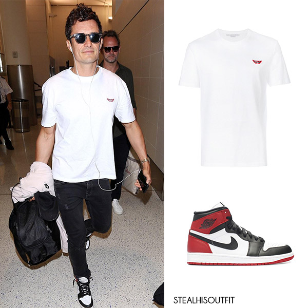 Orlando Bloom white t-shirt high top leather Nike sneakers celebrity men style