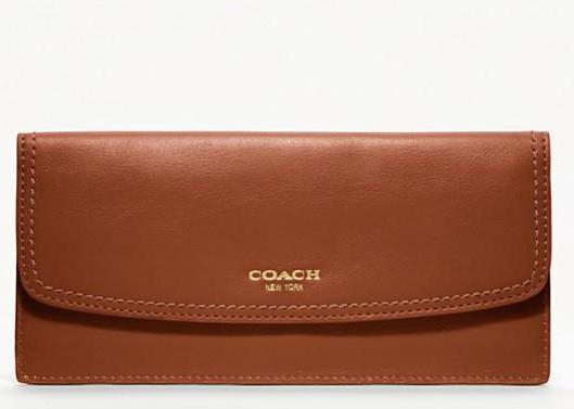 coach legacy leather soft wallet 47990 brass cognac. Black Bedroom Furniture Sets. Home Design Ideas
