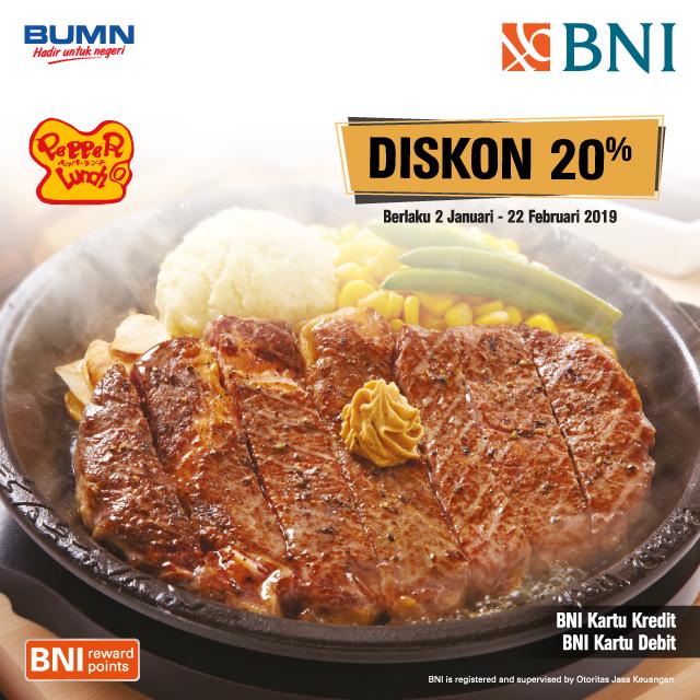 #BankBNI - #Promo Diskon 20% Makan di Pepeer Lunch Min Belanja 250K (s.d 28 Feb 2019)