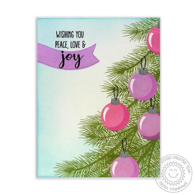 Sunny Studio Stamps: Holiday Style Christmas Tree Card by Mendi Yoshikawa