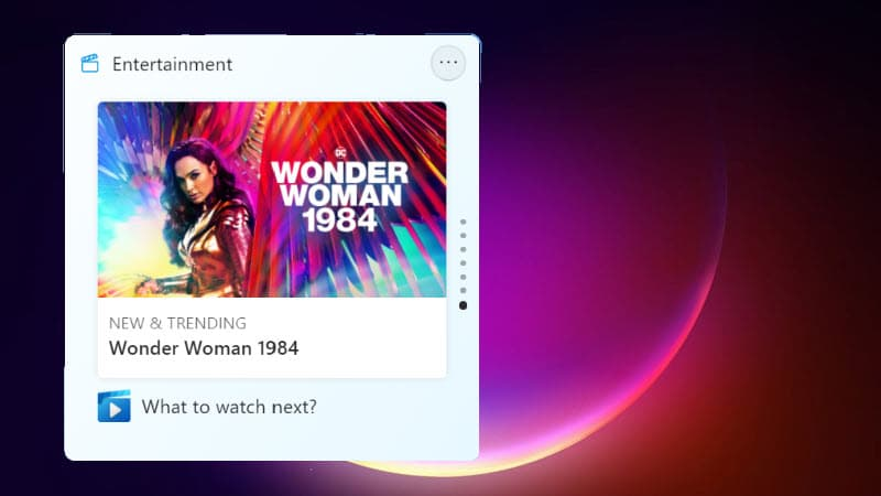 Windows 11 adds a new entertainment widget