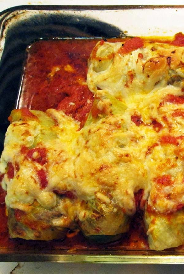 Low-carb Cabbage Roll Baked in Tomato Sauce and Mozzarella Cheese