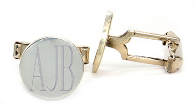 White Background of Sterling Silver Cuff Links