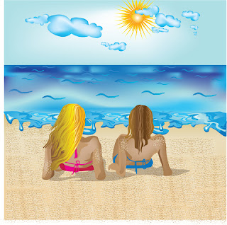 Clipart Image of a Blonde Woman and a Brunette Woman Sunbathing at the Beach