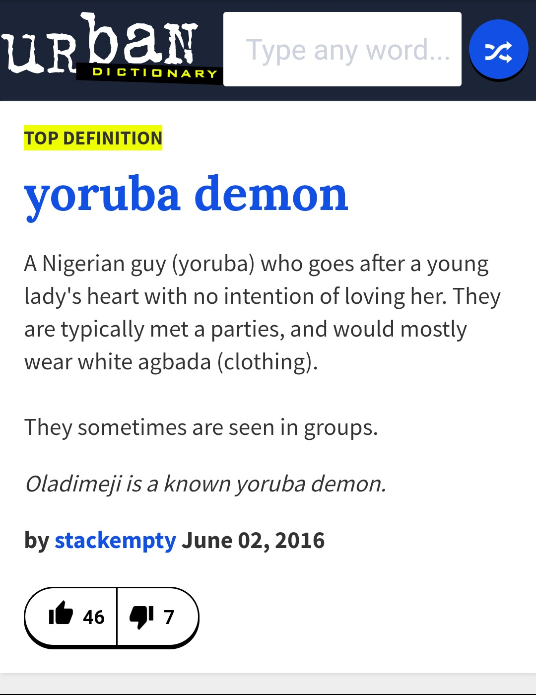 Funny See Dictionary Meaning Of Yoruba Demon-9202