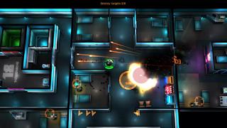 Sebuah keindahan gaya retro dari game dual stik shooter di mana player adalah salah satu n Game:  Neon Chrome apk + obb