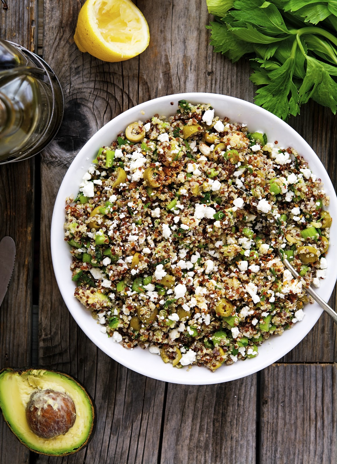 Green Goddess Quinoa Salad with Feta Cheese