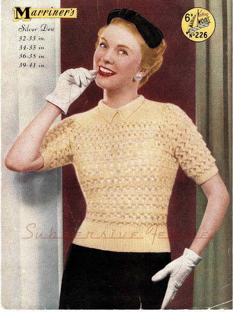 The Vintage Pattern Files Free 1950's Knitting Pattern - Silver Dew Sweater
