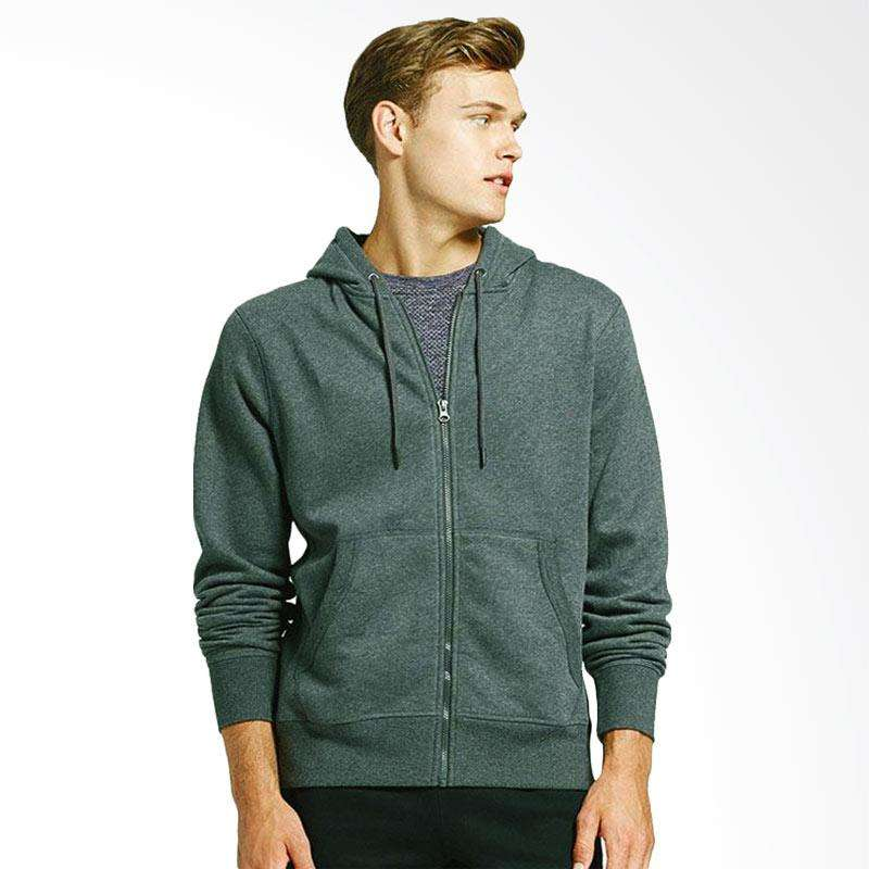 FTS Trendy Jaket Sweater Polos Zipper - Abu