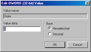Edit DWORD [32-bit] value | Value name: State | Value data: 0
