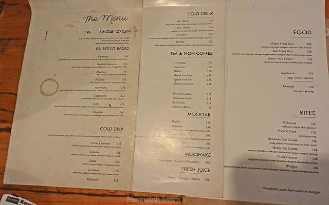 Daftar harga menu di Sama Dengan Kopi