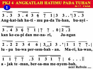 Lirik dan Not PKJ 4 Angkatlah Hatimu Pada Tuhan
