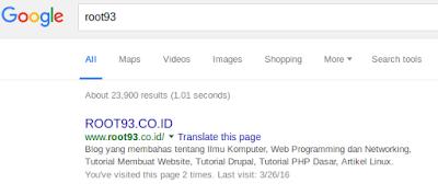 tag meta ditampilkan di halaman pencarian