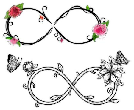 Flower and Butterflies Infinity Tattoo