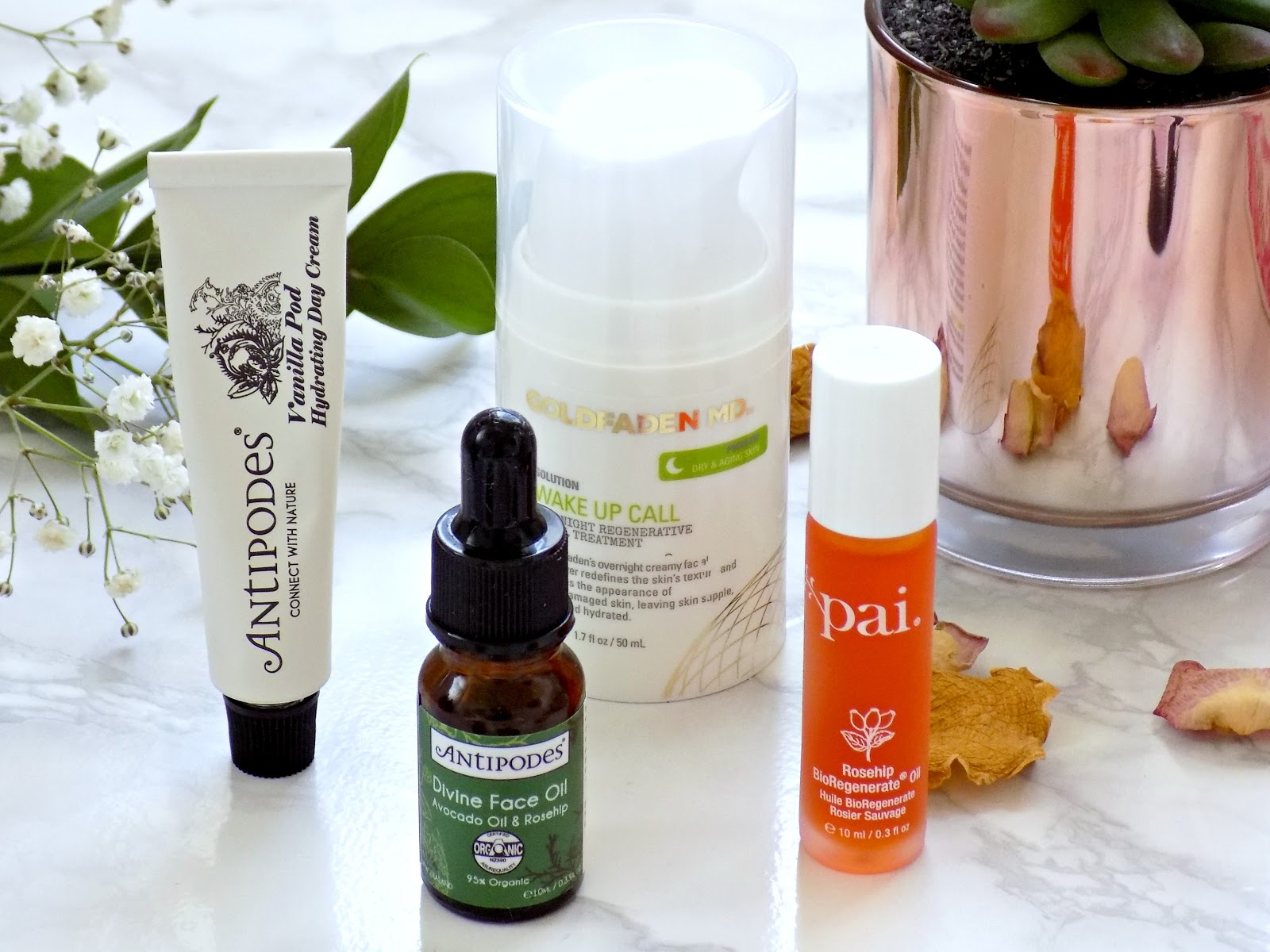 Hydrators, facial oils, Antipodes Divine Face Oil, Pai Rosehip Oil, GoldfadenMD Wakeup Call
