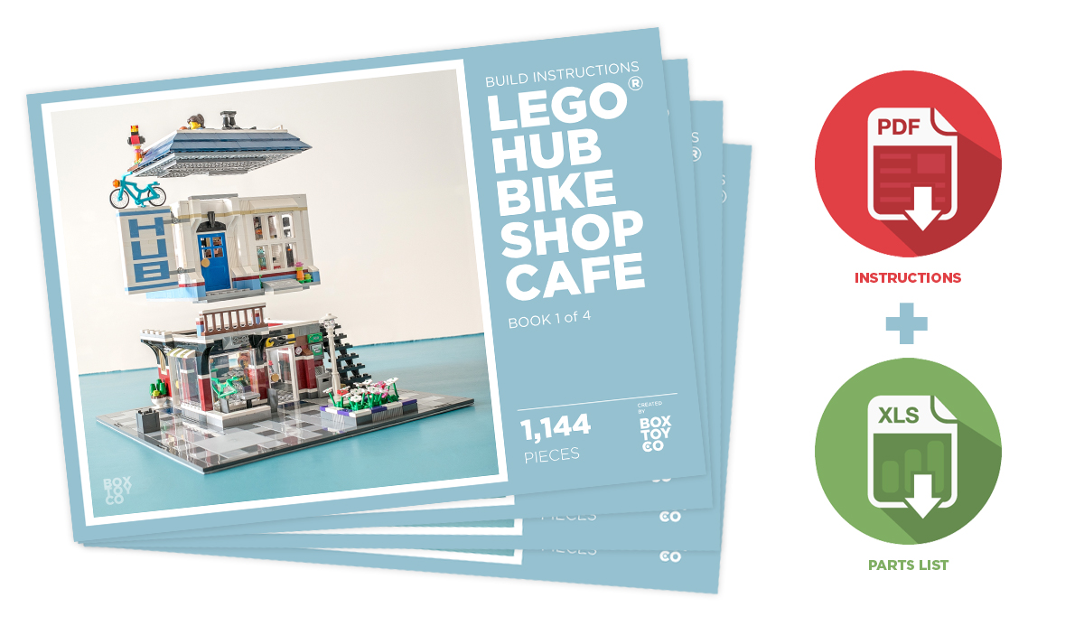 Lego Hub Bike Shop Cafe Moc Build Instructions Boxtoy
