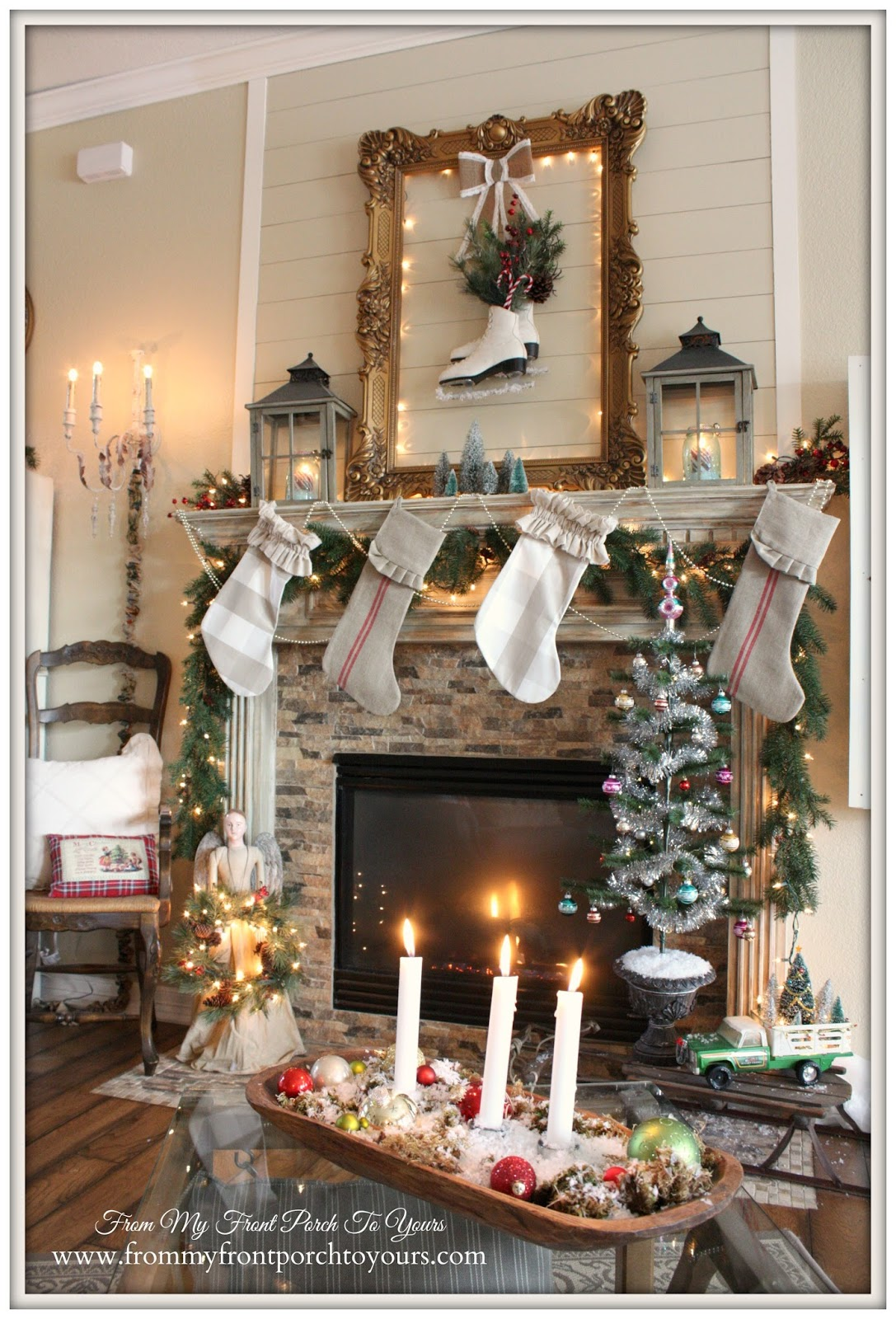 Farmhouse- Vintage -Christmas- Mantel-Ice Skates-Lanterns- From My Front Porch To Yours