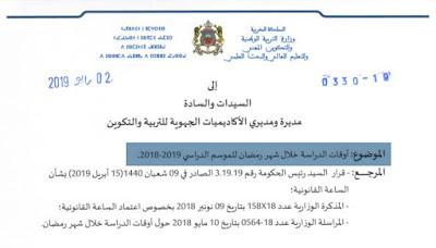 التوقيت المدرسي المعتمد خلال شهر رمضان موسم 2018-2019 حسب الجهات