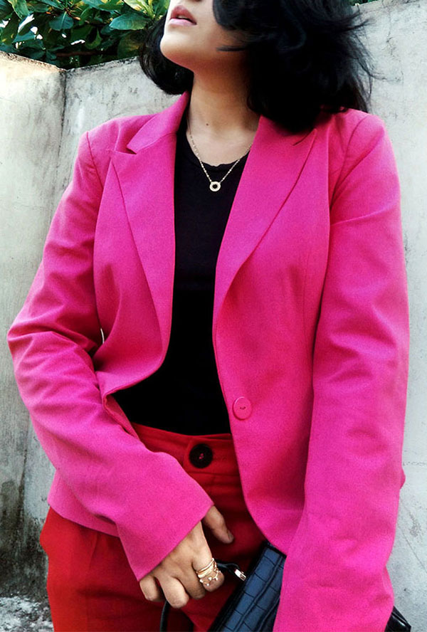 Zarablacktop,Mango Red trousers,Only pink blazer,Zarablackcitybag,streetstyle