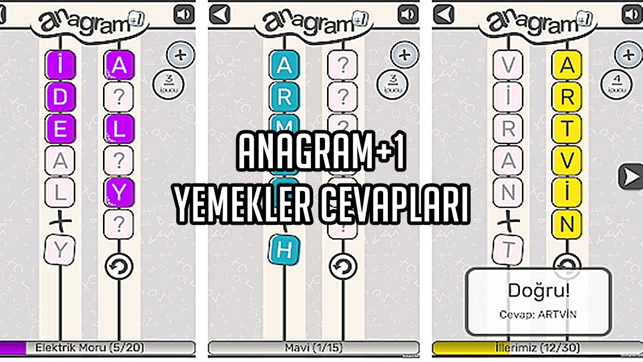 Anagram+1 Yemekler Cevaplar