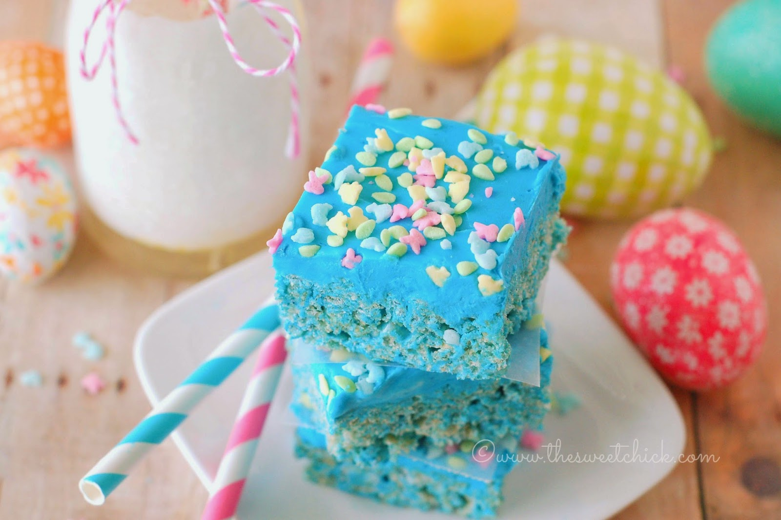 Blue Raspberry Rice Krispie Treats @www.thesweetchick.com