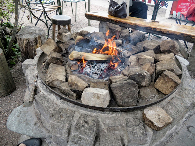Outdoor fireplace at Regatta Cafe in Helsinki, Finland