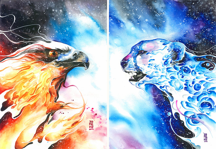 09-Burning-Sky-Luqman Reza jongkie-Painting-Fantasy-worlds-with-Flowing-Watercolor-Animals-www-designstack-co