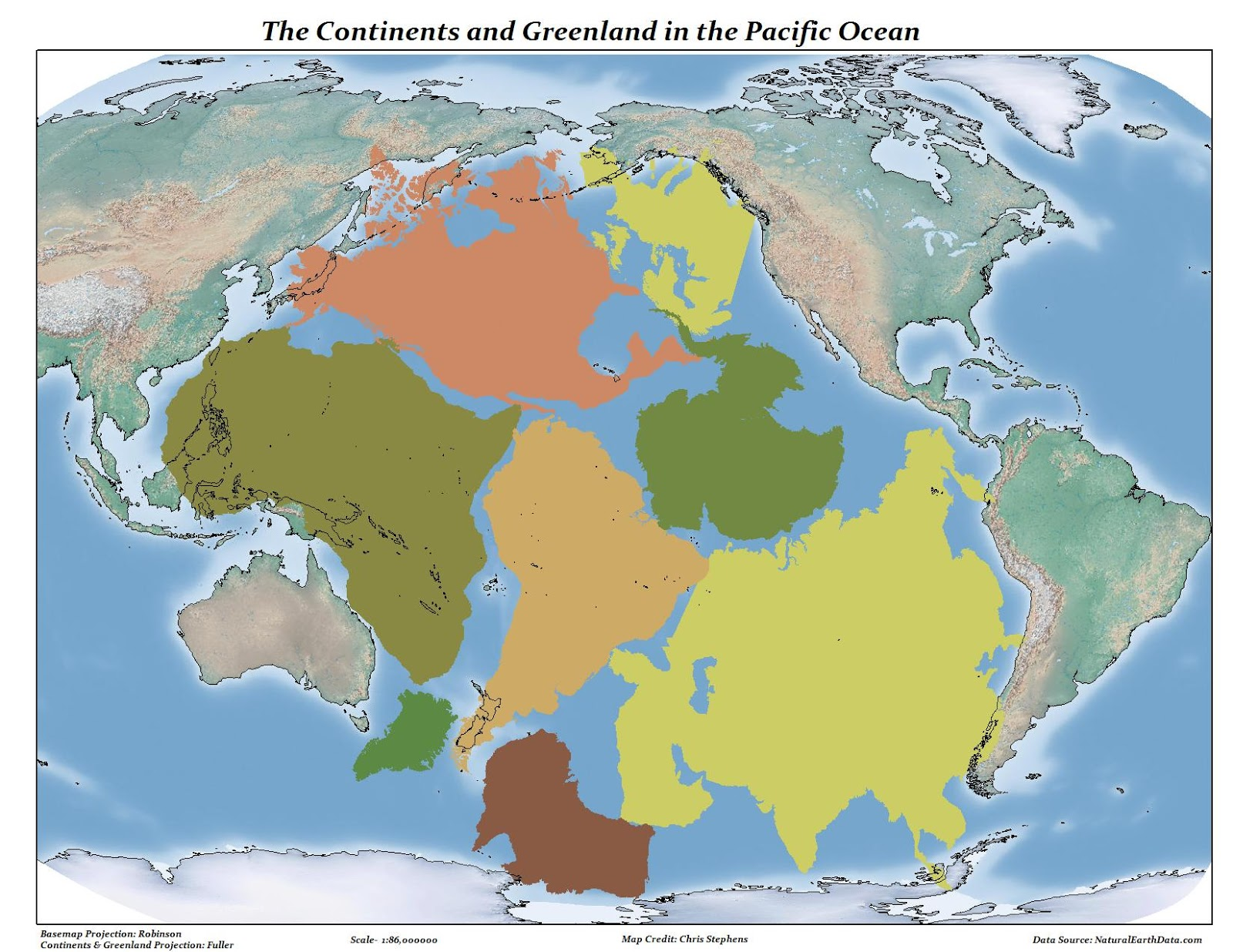 The Continents and Greenland in the Pacific Ocean