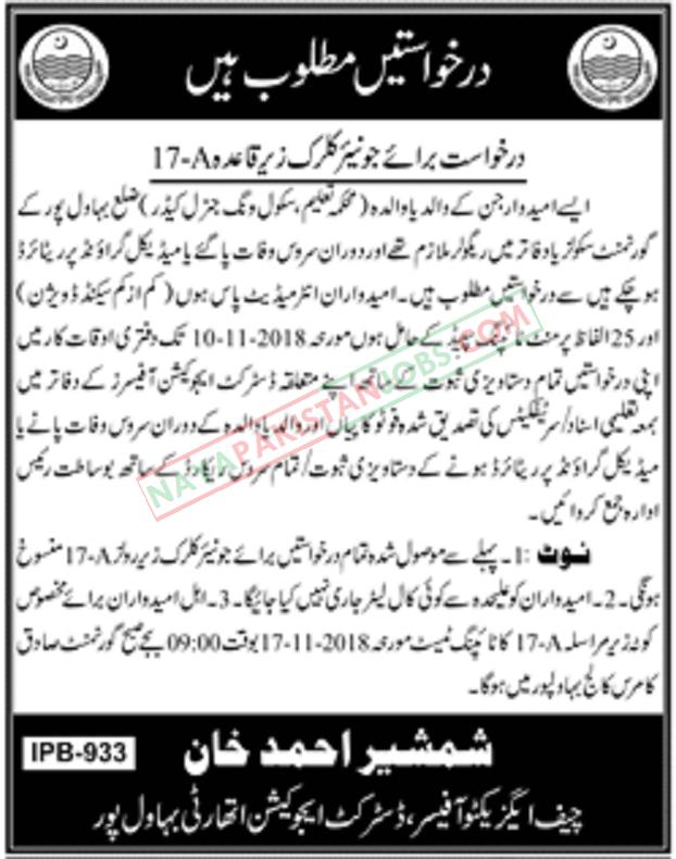 District Education Authority Bahawalpur Jobs 2018 | October