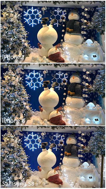 3 images of a Christmas scene with snowmen and a Christmas tree