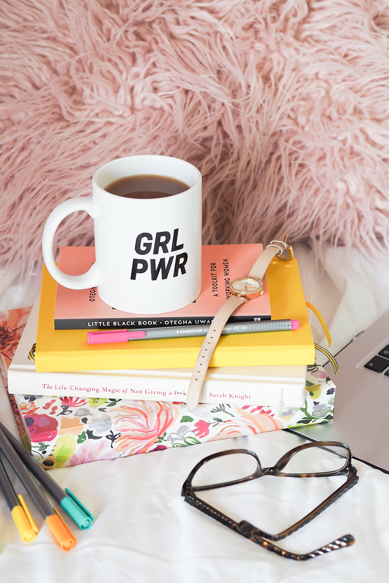 GRL PWR mug and Kate Spade watch on colourful pile of books | Colours and Carousels - Scottish Lifestyle, Beauty and Fashion blog