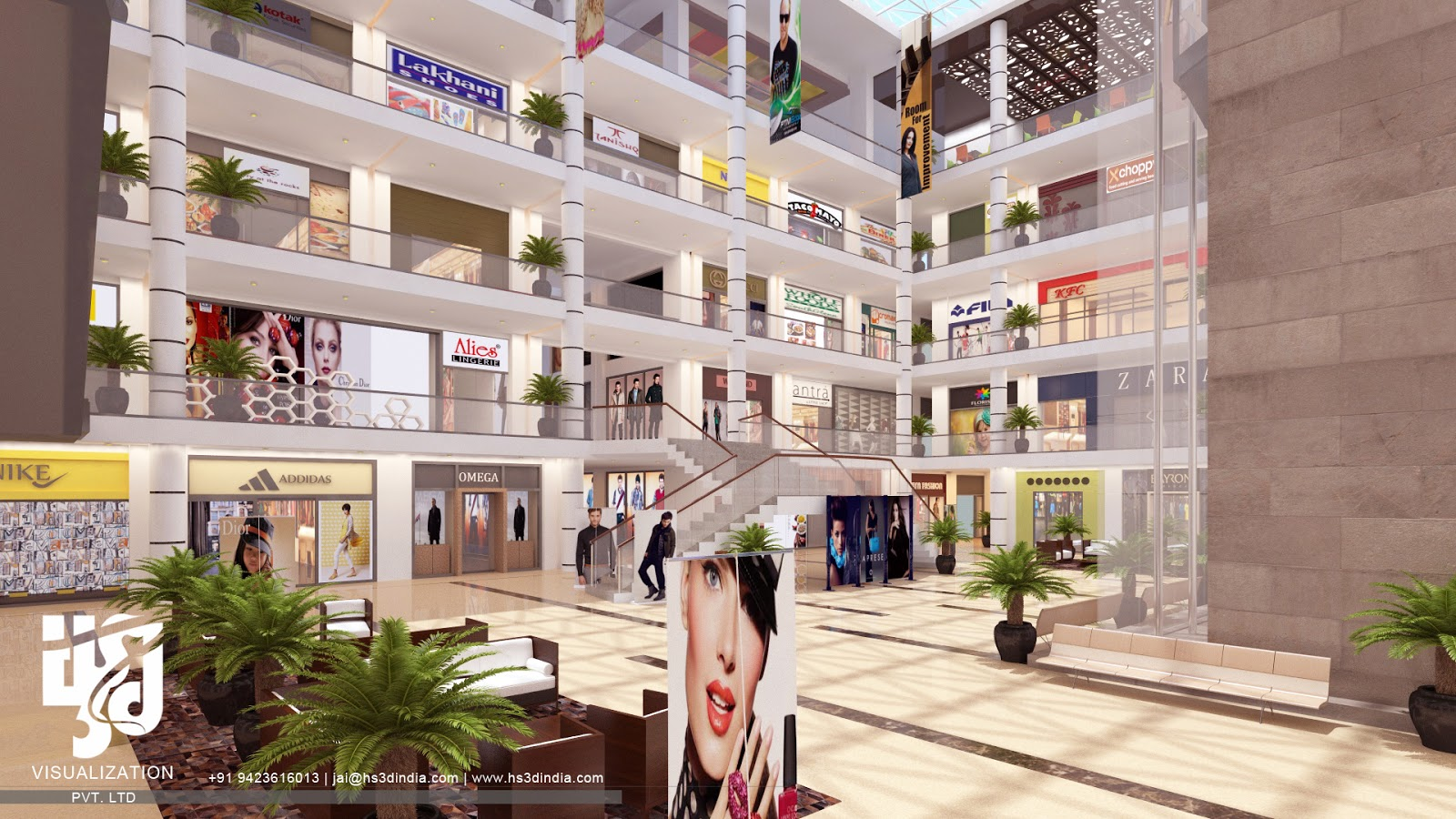 MODERN SHOWROOM INTERIOR DESIGN 3D RENDERING BY HS 3D INDIA