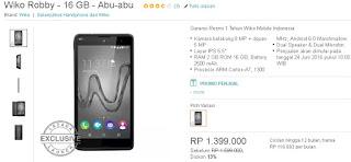 Harga dan Spesifikasi Wiko Robby Android Marshmallow Murah Layar 5.5 inch