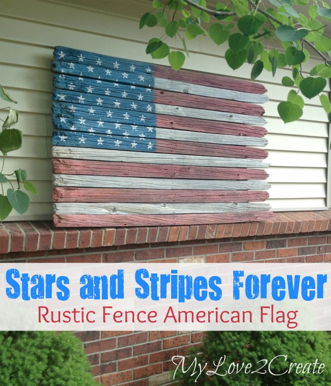 American flag made from a fence