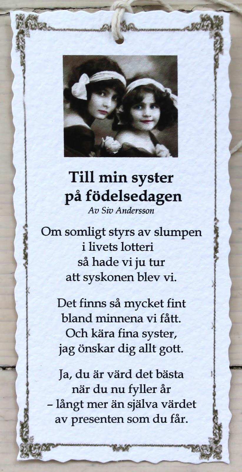 grattis syster dikt Annas idéer bloggbutik: 2015 grattis syster dikt