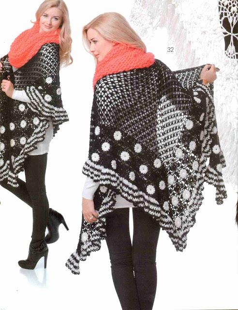 Patrón #1398: Poncho a Crochet