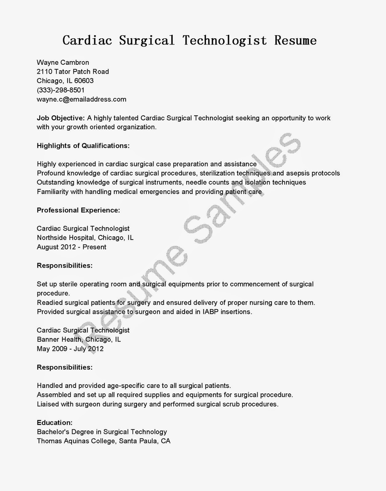 Resume Objective For Surgical Technologist Resume Samples Cardiac Surgical Technologist Resume Sample