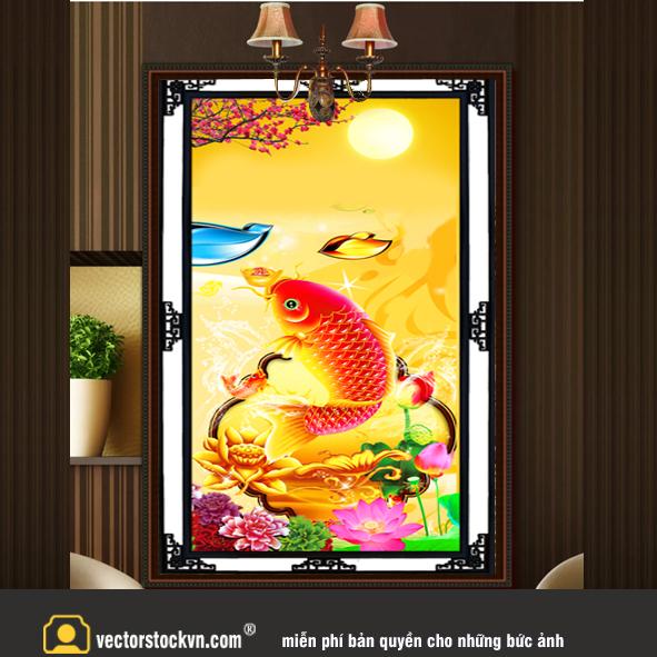 Tranh cá chép vàng