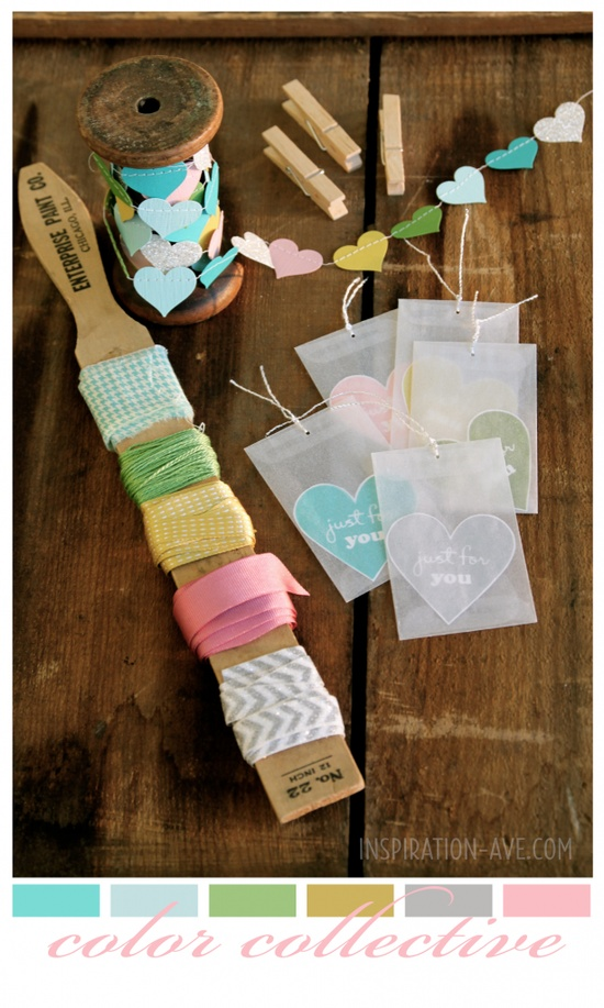 Paint sticks work as great organizational tools for your ribbon.
