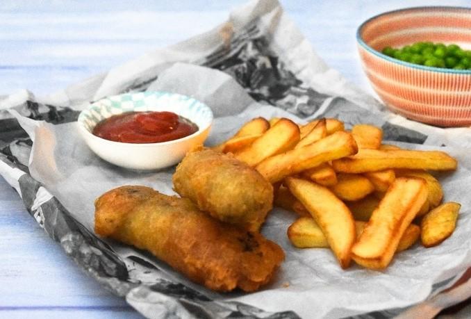Vegan Chip Shop Sausage Supper