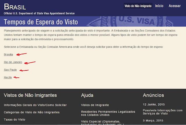 Agendamento de entrevistas para solicitação de visto para os EUA