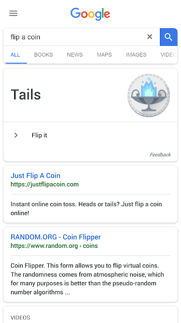 Flip a coin on Google Search
