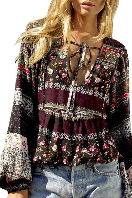 Iyasson Women Bohemian Print Loose Casual Blouses