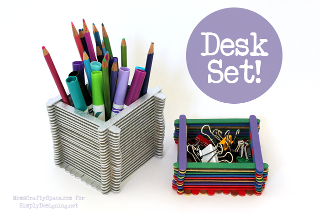 Popsicle Stick Container Desk Set - this is a really fun kid craft that has so many uses!  #kidcraft #kidactivity #summer