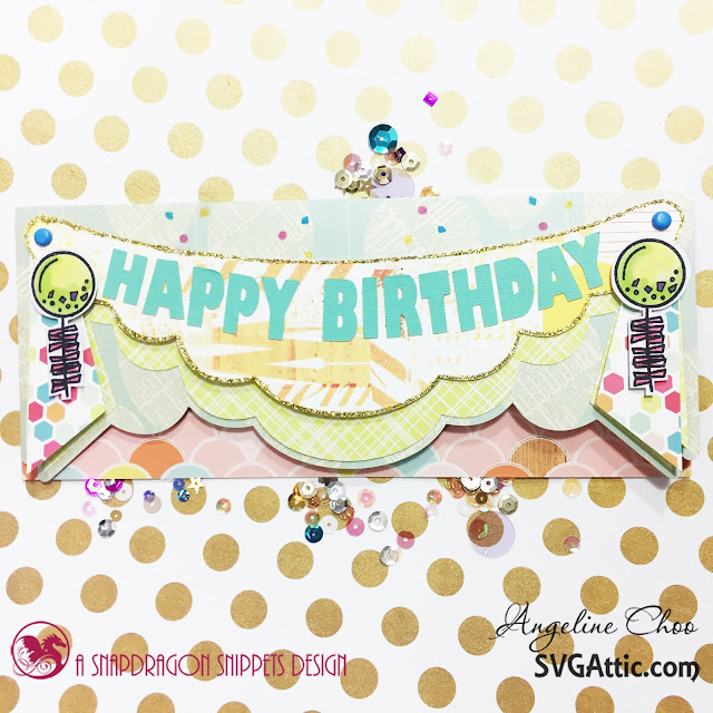 SVG Attic: Birthday Celebration with Angeline #svgattic #scrappyscrappy #birthday #papercraft #svg #diecut