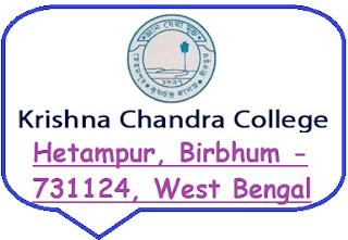 Krishna Chandra College, Hetampur, Birbhum -731124, West Bengal