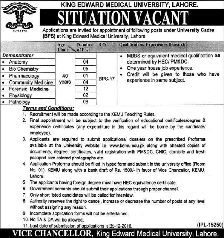 Medical University King Edward  Lahore Jobs